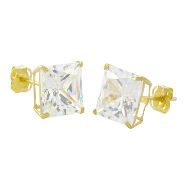 Gold Cubic Zirconia Square Stud Earrings