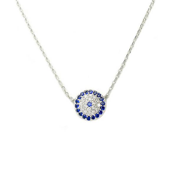 Silver Chain Necklace with CZ Pave Evil Eye Pendant