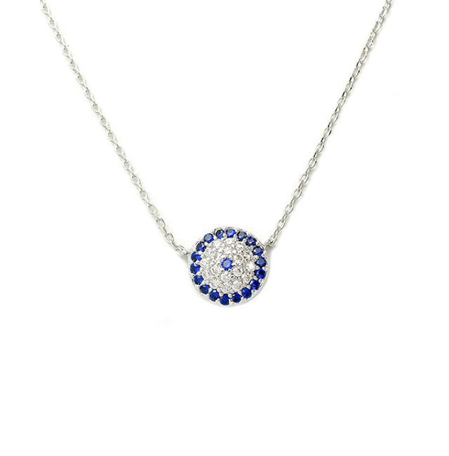 Silver Chain Necklace with Cubic Zirconia Pave Evil Eye Pendant