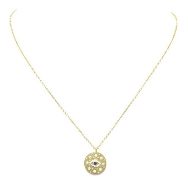 Sterling Silver Gold Plated CZ Evil Eye Pendant Necklace