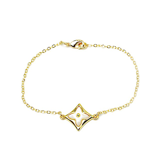 Gold Mother of Pearl Clover Chain Bracelet