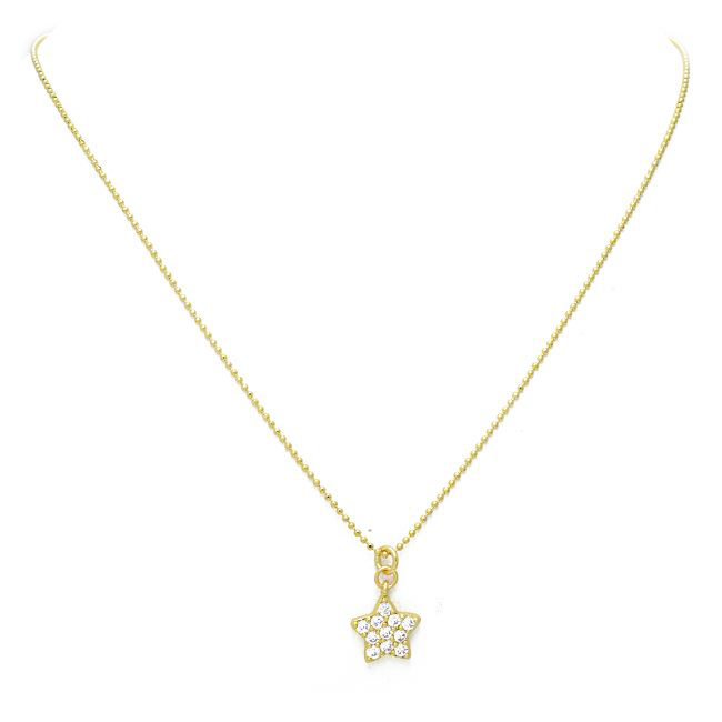 Gold Cubic Zirconia Pave Star Pendant Necklace