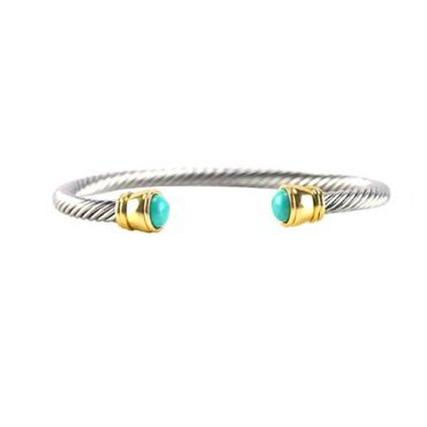 Two Tone Turquoise Open Cuff Bracelet