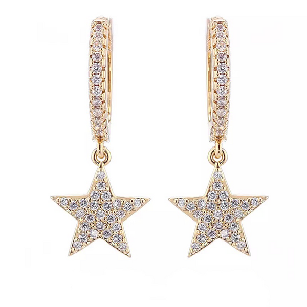 Gold Cubic Zirconia Micro Pave Star Dangle Earring