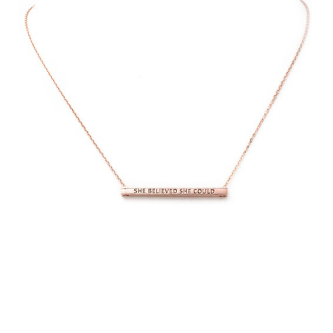 Rose Gold SHE BELIEVED SHE COULD Inspirational Pendant Necklace