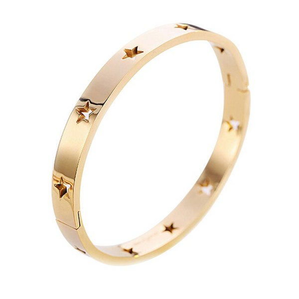 Stainless Steel Gold Star Cuff Bracelet
