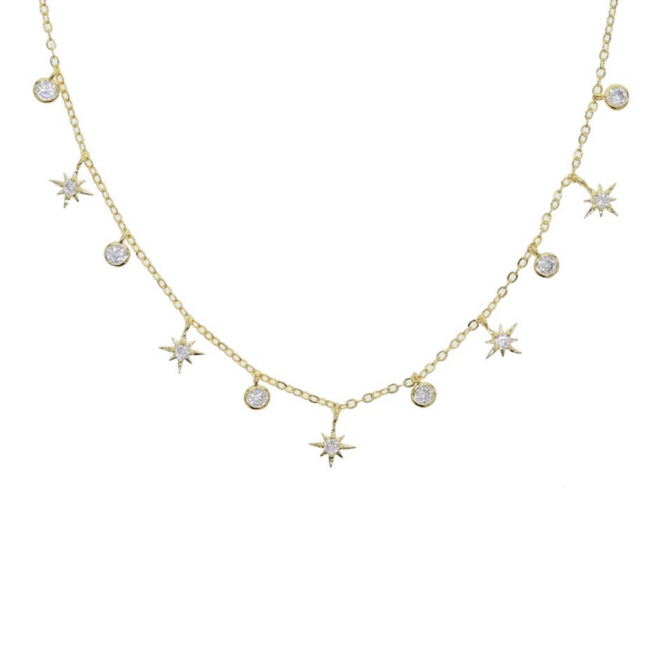 Gold Cubic Zirconia Starburst Charm Necklace