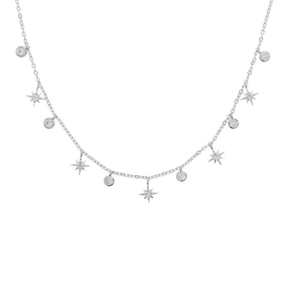 Silver Cubic Zirconia Starburst Charm Necklace