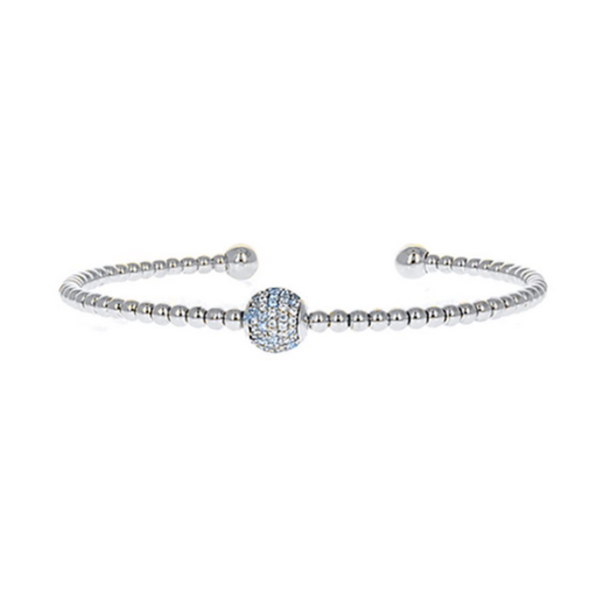 Silver Cubic Zirconia Pave Ball Open Cuff Bracelet