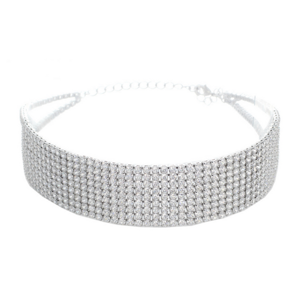 Silver Elegant Cubic Zirconia Studded Choker Necklace
