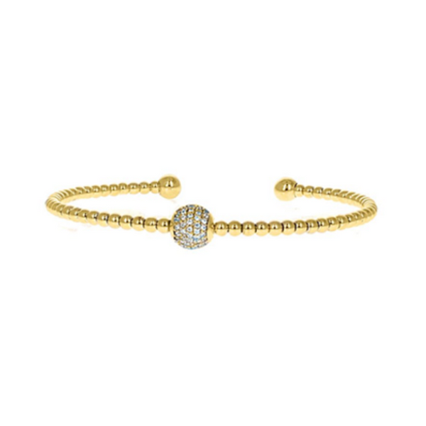 Gold Cubic Zirconia Pave Ball Open Cuff Bracelet
