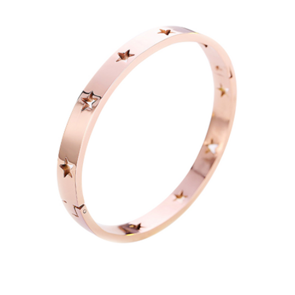 Stainless Steel Rose Gold Star Cuff Bracelet