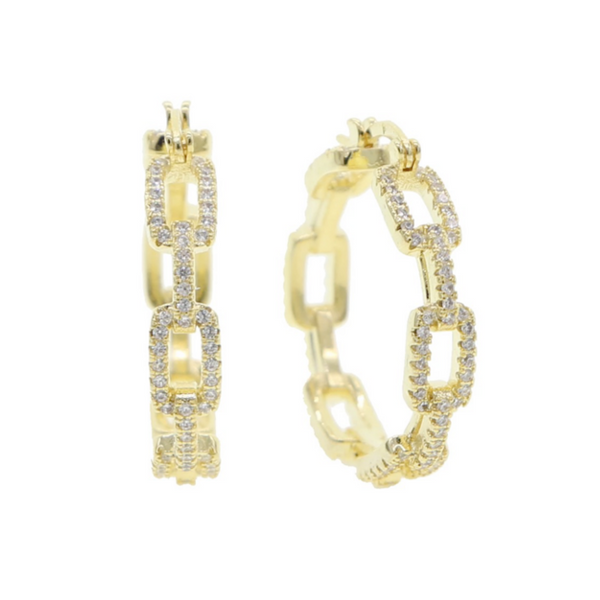 Gold Cz Chain Hoop Earrings