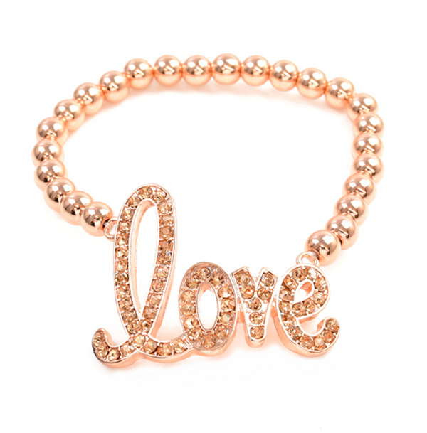 Rose Gold Crystal Love Stretch Bracelet