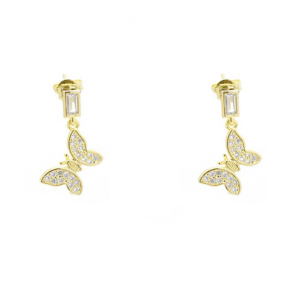gold cz butterfly earring