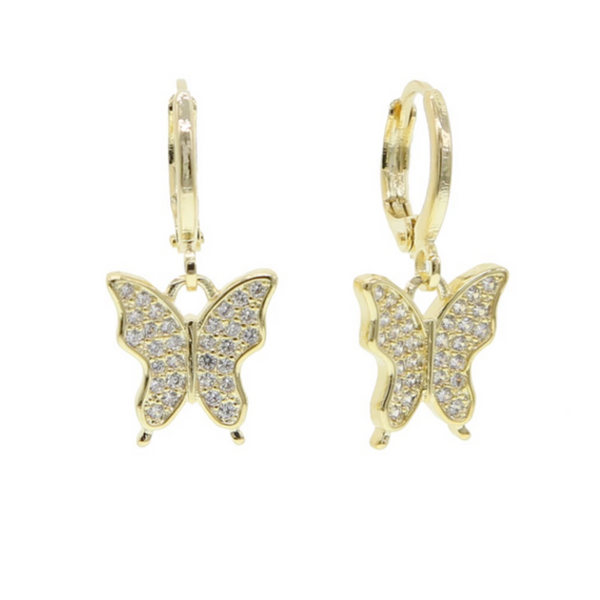 Gold Cubic Zirconia Pave Butterfly Dangle Earrings