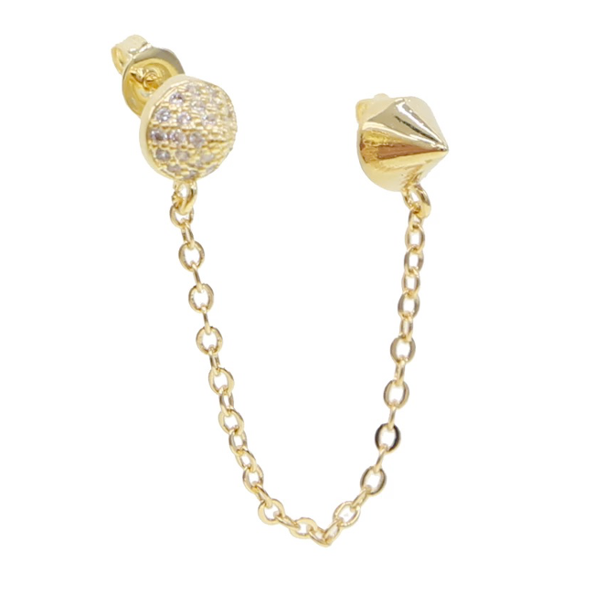 Gold Cubic Zirconia Spike Double Post Earring