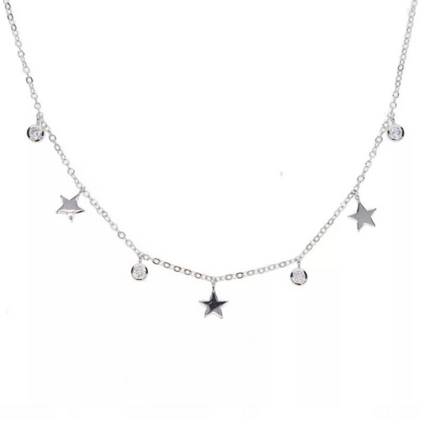 Silver Cubic Zirconia Star Charm Necklace