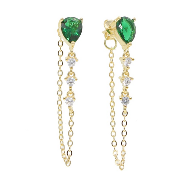 Gold Emerald Green CZ Teardrop Dangle Earring