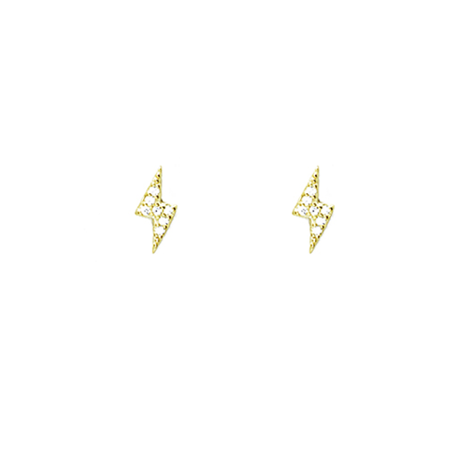 sterling silver gold lightning bolt earring