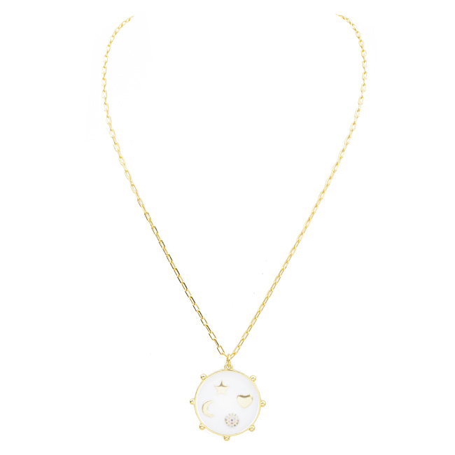 Gold Filled Cubic Zirconia Lucky Charm Pendant Necklace