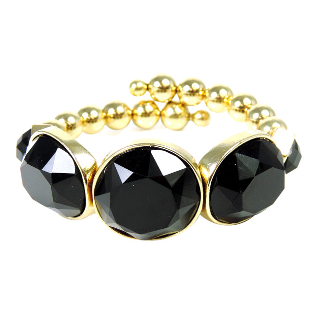 Gold Coil Bracelet with Black Acrylic Stones