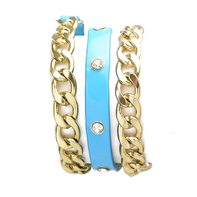 Turquoise Leather Gold Chain Wrap Bracelet
