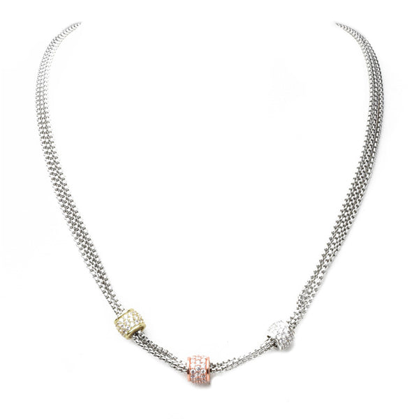 Multi Strand Cubic Zirconia Pave Magnetic Necklace