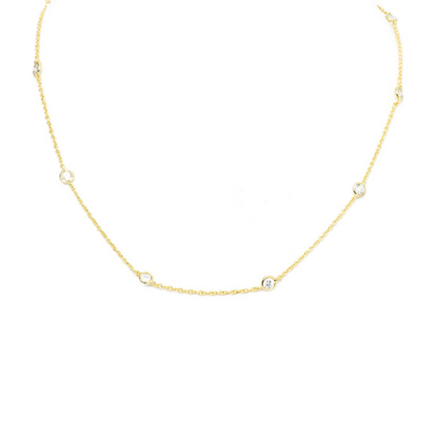 "18"" Gold 4mm Cubic Zirconia Station Necklace"