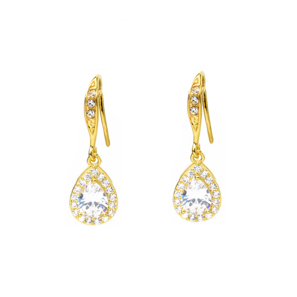 gold cz dangle earrings