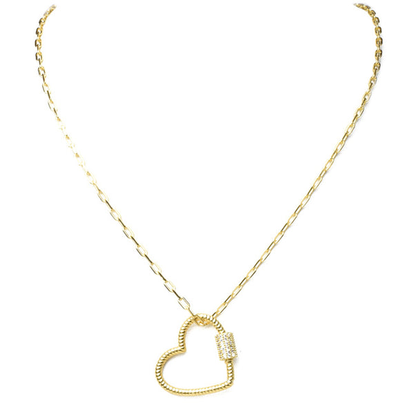 gold filled cz heart necklace