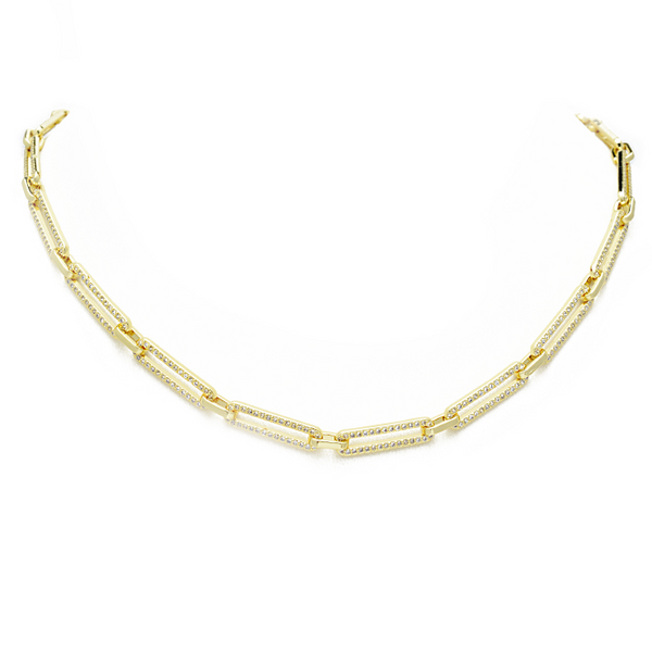 gold cz link chain necklace
