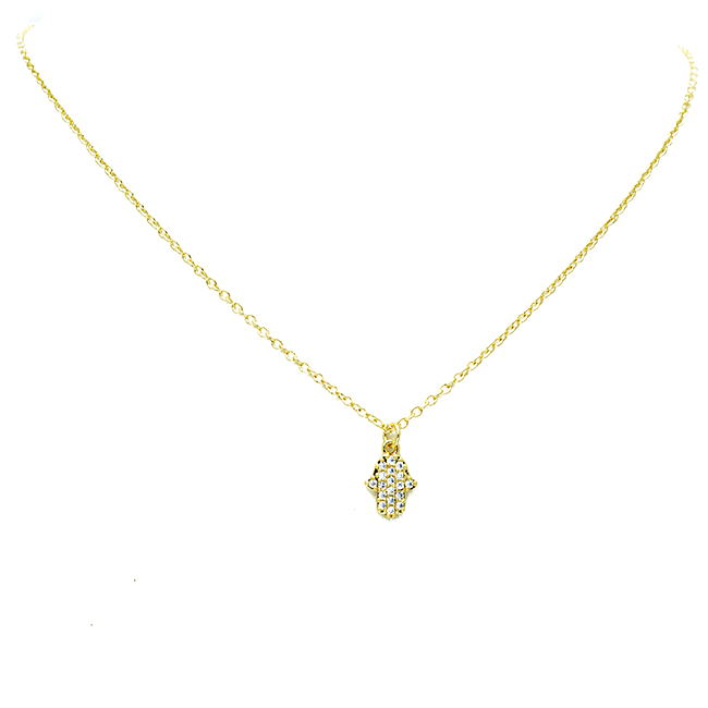 gold cz hamsa necklace