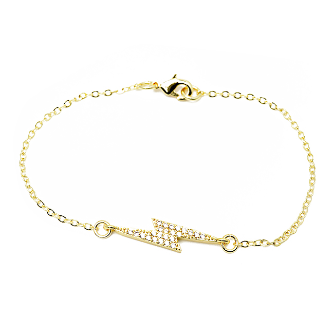 gold cz lightning bolt bracelet