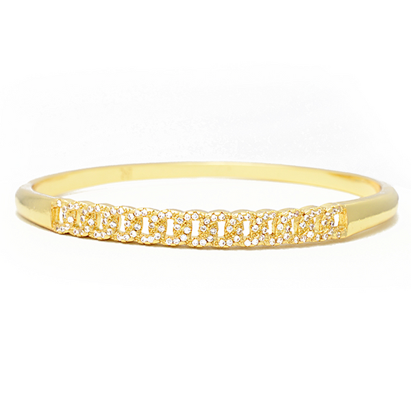 gold cz link bangle bracelet