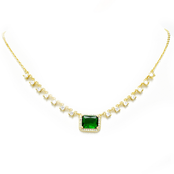 Gold CZ Studded Necklace with Emerald Green CZ Pendant