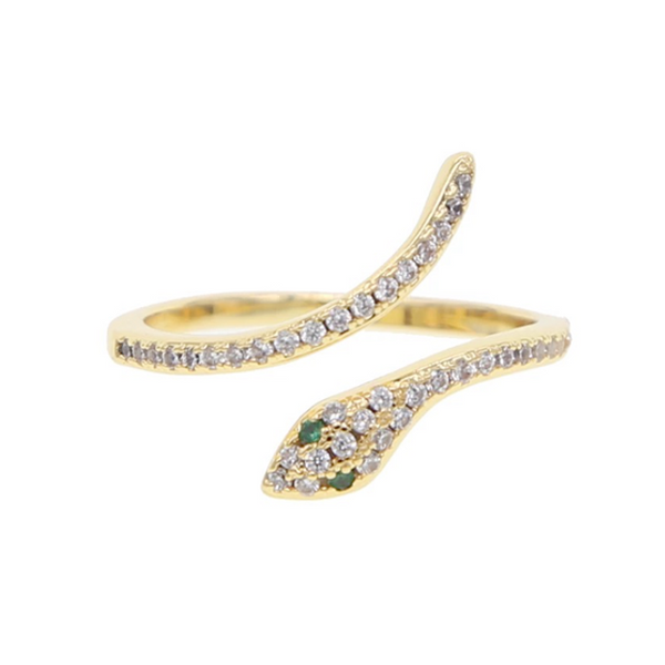 Gold Cubic Zirconia Pave Adjustable Snake Ring