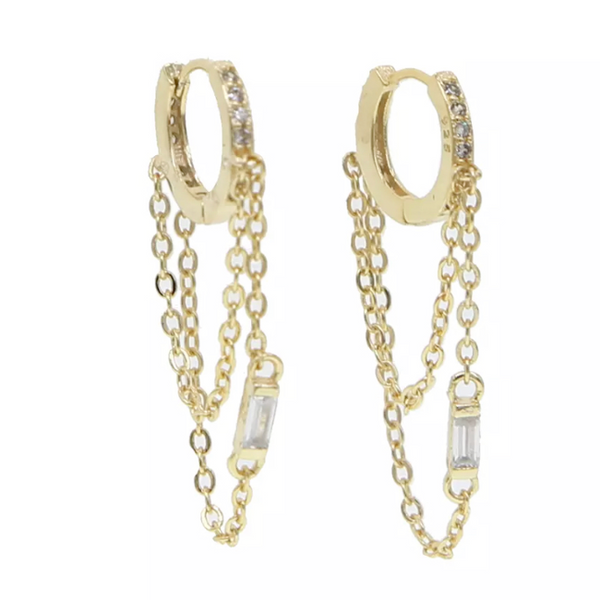 Sterling Silver Gold Plated CZ Tassel Chain Huggie Earring