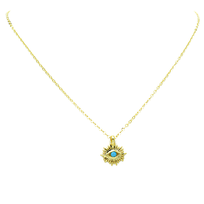 Gold Turquoise Evil Eye Pendant Necklace