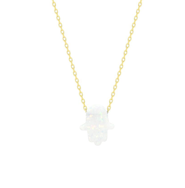 Sterling Silver Gold Plated White Opal Hamsa Pendant Necklace