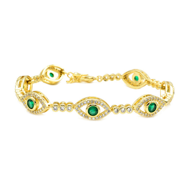 Gold Cubic Zirconia Evil Eye Chain Bracelet