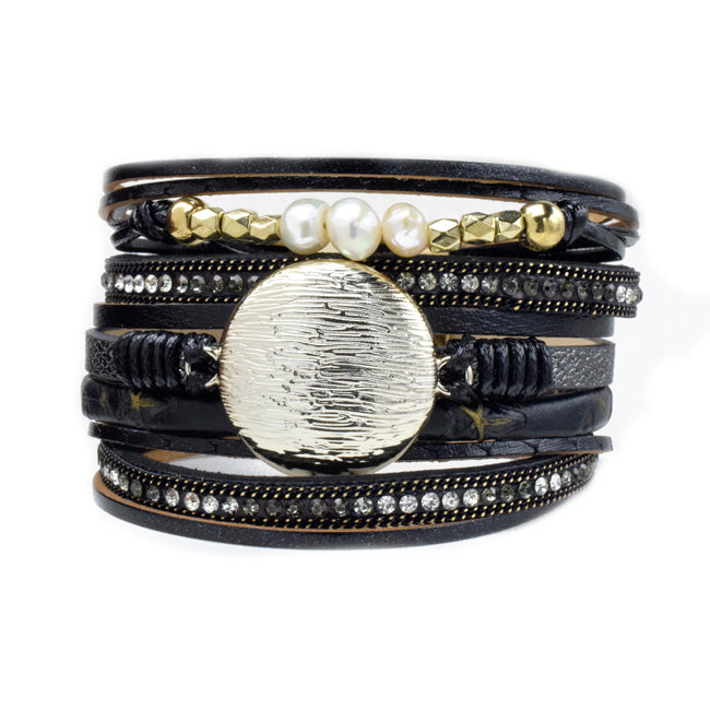 Black Multi Strand Leather Magnetic Bracelet with Crystals