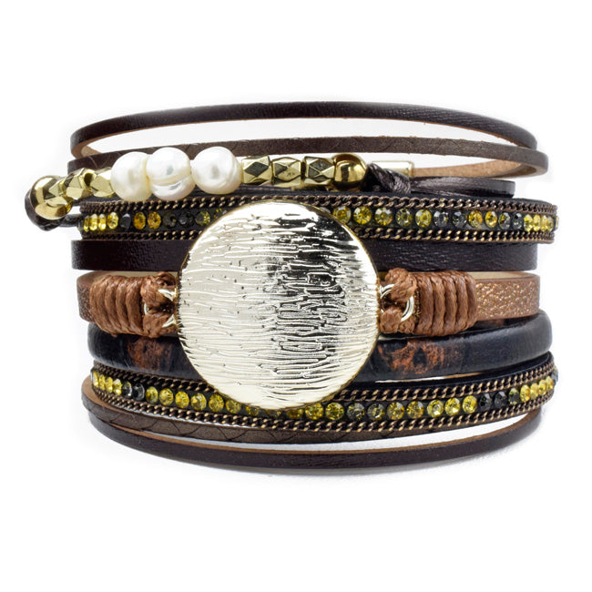 Brown Multi Strand Leather Magnetic Bracelet with Crystals