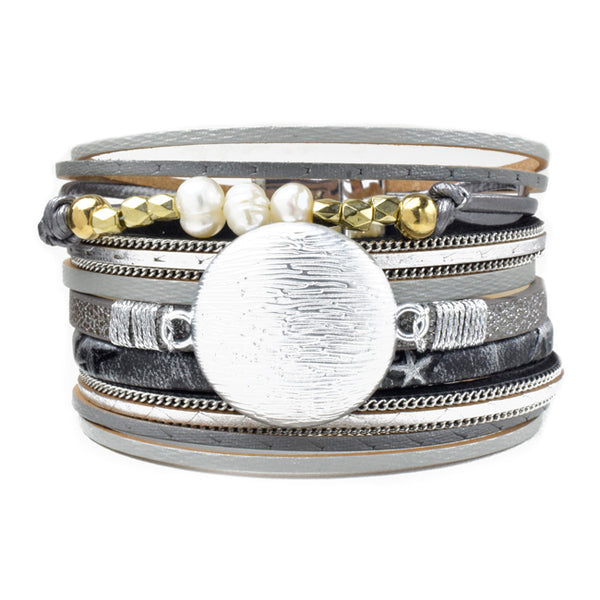 Silver Multi Strand Leather Magnetic Bracelet with Crystals