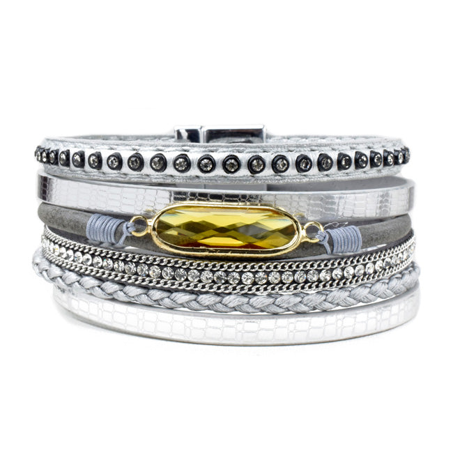 crystal leather magnetic bracelet