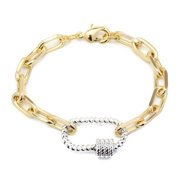 Gold Linked Chain Bracelet with Silver Station