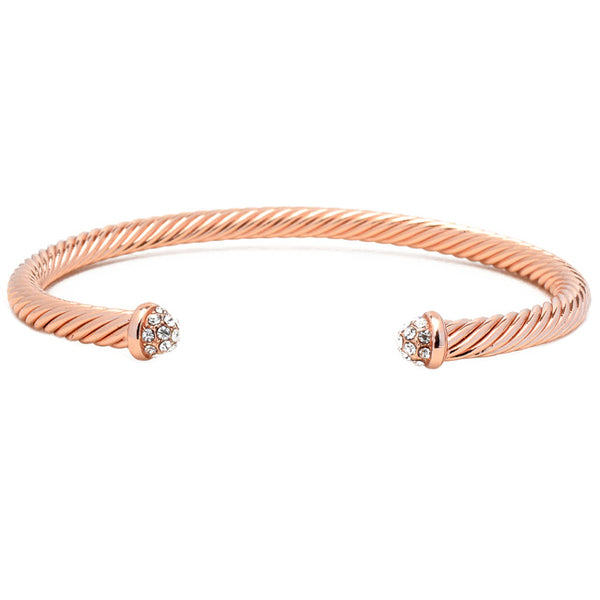 Rose Gold Twisted Cable CZ Pave Open Cuff Bracelet