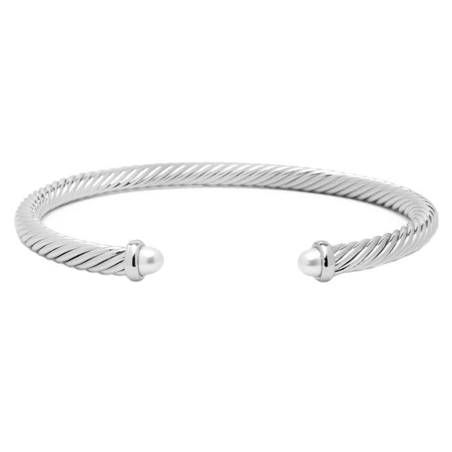 Silver Twisted Cable Open Cuff Pearl Bracelet