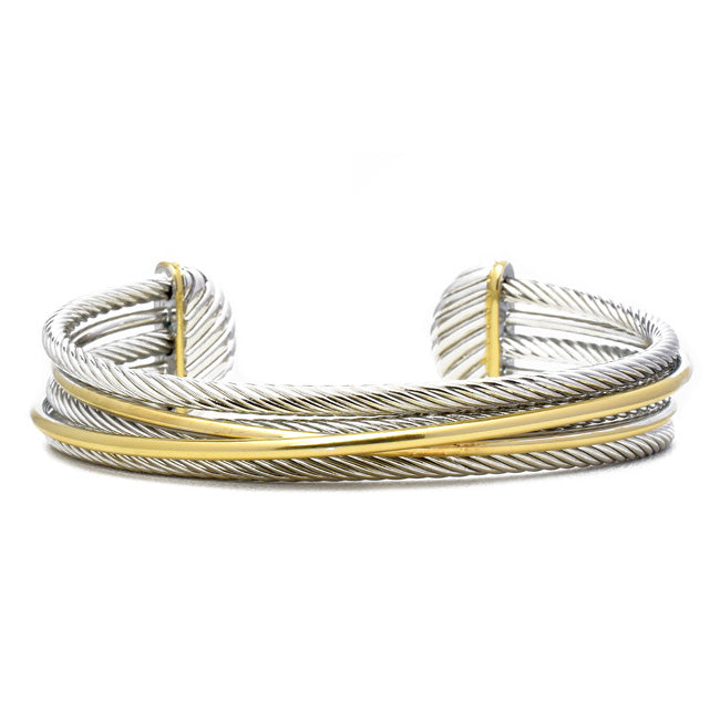 Two Tone Twisted Cable Open Cuff Bracelet
