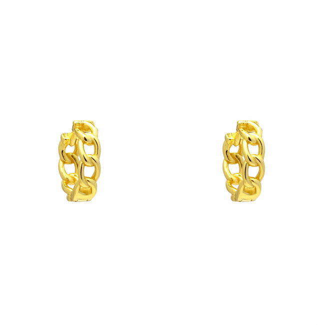 Sterling Silver Gold Plated Linked Chain Hoop Earring